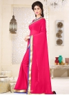 Faux Georgette Lace Work Contemporary Style Saree - 1