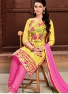 Embroidered Work Cotton Hot Pink and Yellow Trendy Churidar Salwar Kameez - 1