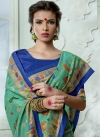 Print Work Tussar Silk Blue and Sea Green Contemporary Saree - 1