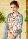 Grey and White Pant Style Pakistani Salwar Kameez - 1