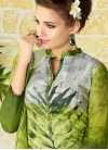 Olive and Silver Color Digital Print Work Pant Style Pakistani Suit - 1