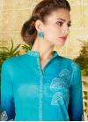 Light Blue and Navy Blue Pant Style Pakistani Salwar Kameez - 1