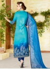 Light Blue and Navy Blue Pant Style Pakistani Salwar Kameez - 2