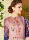 Navy Blue and Pink Print Work Pant Style Pakistani Salwar Suit - 1