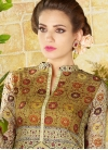 Print Work Beige and Brown Pant Style Straight Salwar Suit - 1