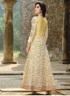 Embroidered Work Faux Georgette Cream and Yellow Trendy Designer Salwar Suit - 1