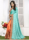 Precious  Coral and Turquoise Embroidered Work Half N Half Saree - 2