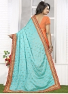 Precious  Coral and Turquoise Embroidered Work Half N Half Saree - 1