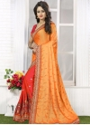 Zesty Embroidered Work Crepe Silk Gold and Tomato Half N Half Trendy Saree - 2