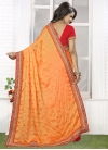 Zesty Embroidered Work Crepe Silk Gold and Tomato Half N Half Trendy Saree - 1