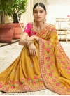Mustard and Rose Pink Trendy Classic Saree - 1