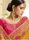 Mustard and Rose Pink Trendy Classic Saree - 2