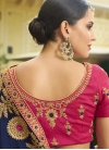 Embroidered Work Navy Blue and Rose Pink Traditional Designer Saree - 2