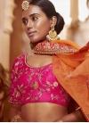 Beads Work Cream and Rose Pink A Line Lehenga Choli - 2