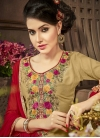 Brown and Red Trendy Churidar Salwar Kameez - 1