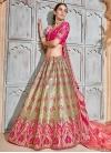 Jacquard Silk Beige and Rose Pink Trendy Lehenga - 1