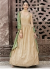 Beige and Bottle Green Embroidered Work Long Length Designer Suit - 1