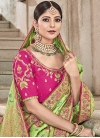 Mint Green and Rose Pink Contemporary Style Saree - 1