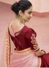 Maroon and Pink Satin Silk Half N Half Trendy Saree - 2