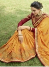 Crimson and Mustard Embroidered Work Contemporary Style Saree - 1