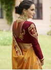Crimson and Mustard Embroidered Work Contemporary Style Saree - 2