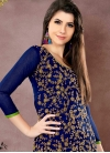 Chanderi Cotton Mint Green and Navy Blue Embroidered Work Churidar Salwar Suit - 1