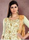 Embroidered Work Chanderi Cotton Cream and Gold Trendy Straight Salwar Kameez - 1