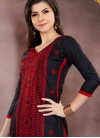 Black and Red Embroidered Work Trendy Straight Salwar Suit - 1