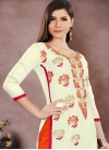 Cream and Orange Embroidered Work Trendy Salwar Kameez - 1