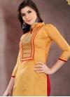 Mustard and Red Chanderi Cotton Trendy Straight Salwar Kameez - 1