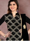 Chanderi Cotton Embroidered Work Churidar Salwar Kameez - 1