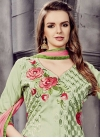 Embroidered Work Olive and Pink Trendy Churidar Suit - 1