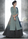 Sweetest Faux Georgette Light Blue and Navy Blue Embroidered Work Kameez Style Lehenga Choli - 1