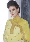 Faux Georgette Cream and Yellow Embroidered Work Punjabi Salwar Kameez - 1