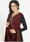 Embroidered Work Black and Crimson Crepe Silk Churidar Salwar Kameez - 1