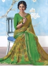 Green and Olive Print Work Classic Saree - 1