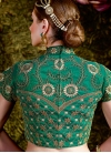 Surpassing Cream and Green Net Designer Lehenga Saree - 2