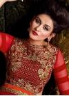 Cream and Crimson Booti Work Layered Designer Lehenga Choli - 2