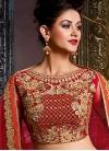Cream and Crimson Booti Work Layered Designer Lehenga Choli - 1