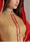 Beige and Red Lace Work Pant Style Designer Salwar Kameez - 1