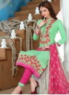 Mint Green and Rose Pink Pant Style Straight Salwar Suit - 1