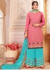 Hot Pink and Light Blue Sharara Salwar Kameez - 1