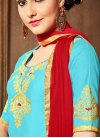 Red and Turquoise Embroidered Work Trendy Churidar Salwar Suit - 1