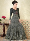 Satin Print Work Floor Length Anarkali Suit - 1