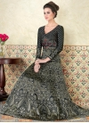 Satin Print Work Floor Length Anarkali Suit - 2