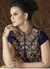 Silk Cream and Navy Blue Beads Work Pant Style Classic Suit - 1