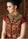 Beige and Maroon Net Kameez Style Lehenga For Party - 1