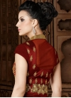 Beige and Maroon Net Kameez Style Lehenga For Party - 2