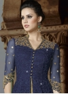 Net Beige and Navy Blue Embroidered Work Kameez Style Lehenga Choli - 1