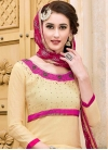 Cream and Rose Pink Pant Style Classic Salwar Suit - 1